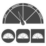 Установленные значки значка масштаба трудно- иллюстрация вектора