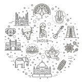 Установленные значки Индии Индийские привлекательности, линия дизайн Туризм в Индии, изолированной иллюстрации вектора символы тр