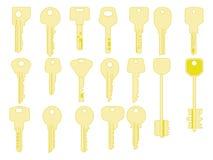 Установленные значки ключей, Двери закрывать и отверстия Золото пользуется ключом знаки и собрание символов Стоковое фото RF