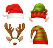 Установленные значки концепции Санта Клауса Стоковые Фотографии RF