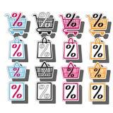 Установленные значки корзины и тележки сумки магазина продажи Символ скидки Ярлыки специального предложения Ярлыки вектора пустые иллюстрация вектора