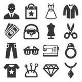 Установленные значки моды и покупок вектор Иллюстрация вектора