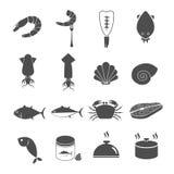 Установленные значки морепродуктов Стоковое Фото