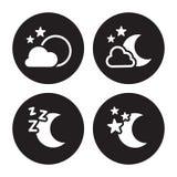 Установленные значки ночи Стоковые Изображения RF