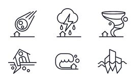 Установленные значки, падение стихийного бедствия метеорита, гроза, ураган, землетрясение, иллюстрация вектора цунами на белизне иллюстрация вектора