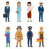 Установленные значки персонажей из мультфильма людей профессий иллюстрация штока