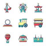 Установленные значки, плоский стиль парка атракционов бесплатная иллюстрация