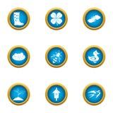 Установленные значки, плоский стиль пригорода иллюстрация вектора