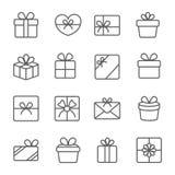 Установленные значки подарка Принципиальная схема праздника Стоковое Изображение RF