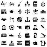 Установленные значки, простой стиль образования Стоковые Изображения