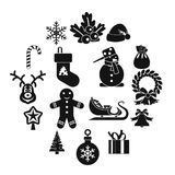Установленные значки, простой стиль рождества Стоковое фото RF