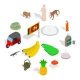 Установленные значки, равновеликий Шри-Ланка стиль 3d иллюстрация вектора