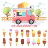 Установленные значки различного цвета мороженого вкусов плоские Фургон мороженого передвижной на иллюстрации улицы Стоковое Изображение