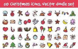 Установленные значки рождества doodle вектора Стоковая Фотография RF