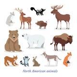 Установленные значки североамериканского шаржа животных плоские иллюстрация штока