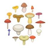 Установленные значки, стиль гриба шаржа Стоковые Фотографии RF