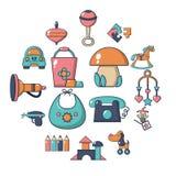 Установленные значки, стиль детского сада шаржа Стоковые Изображения