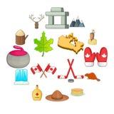 Установленные значки, стиль Канады шаржа Стоковая Фотография RF