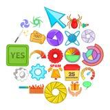 Установленные значки, стиль кнопки сети шаржа Стоковое Изображение