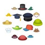 Установленные значки, стиль крышки шляпы шаржа Стоковое Фото