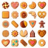 Установленные значки, стиль печенья печений шаржа иллюстрация вектора