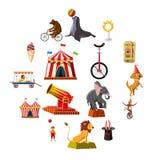 Установленные значки, стиль символов цирка шаржа Стоковые Изображения