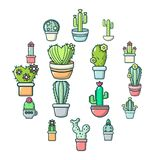 Установленные значки, стиль цветка кактуса шаржа Стоковые Фото