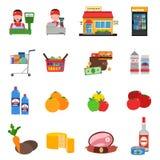 Установленные значки супермаркета бесплатная иллюстрация