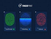 Установленные значки технологии развертки отпечатка пальцев иллюстрация штока