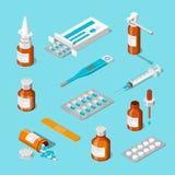 Установленные значки фармации, медицины и здравоохранения 3d равновеликие Пилюльки, лекарства, иллюстрация бутылок плоская бесплатная иллюстрация