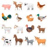 Установленные значки цвета животных Agricultute плоские Стоковая Фотография