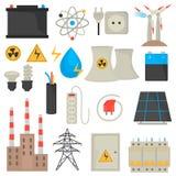 Установленные значки цвета электричества и силы плоские Стоковая Фотография