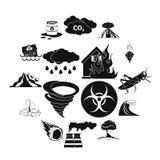 Установленные значки, черный простой стиль стихийного бедствия иллюстрация вектора