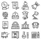 Установленные значки школьного образования Стоковая Фотография RF