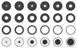 Установленные значки штарки камеры иллюстрация вектора