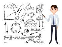 Установленные значки Budsiness бизнесмена и Doodle шаржа вектора, графики и диаграммы бесплатная иллюстрация