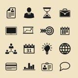 установленные иконы дела Значки для дела, управления, финансов, стратегии, маркетинга Стоковая Фотография