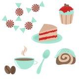 установленные иконы десерта иллюстрация вектора