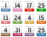 установленные иконы календара Стоковое Изображение