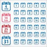 установленные иконы календара Стоковые Изображения RF