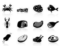 Установленные иконы мяса Стоковое Изображение