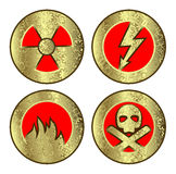 установленные иконы опасности Стоковые Изображения