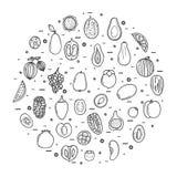 Установленные иконы плодоовощей Стоковое Фото