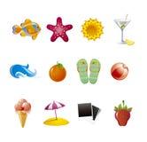 установленные иконы пляжа Стоковые Изображения