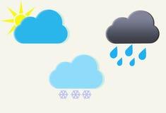 Установленные иконы погоды. Иллюстрация вектора Стоковое Изображение RF