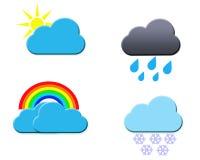 Установленные иконы погоды. Иллюстрация вектора Стоковые Изображения RF