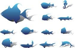 установленные иконы рыб 22a Стоковое Изображение RF