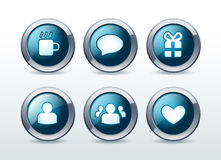 Установленные иконы связи Social и сети   Стоковая Фотография RF