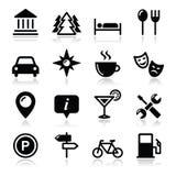 Установленные иконы туризма перемещения -   Стоковое Изображение RF