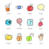 Установленные иконы Doodle Стоковые Изображения RF